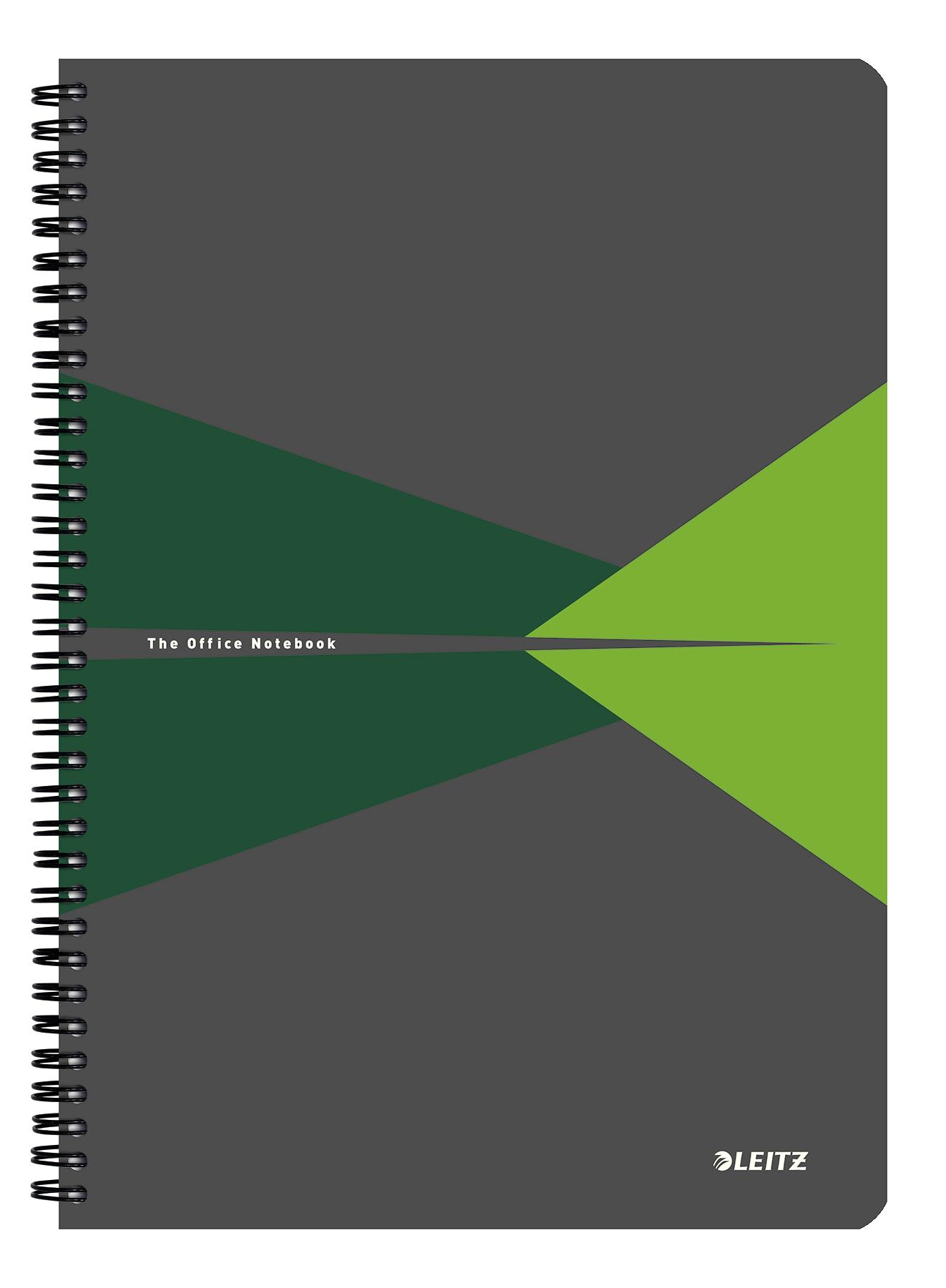 Caiet de birou LEITZ Office, carton, A4, cu spira, dictando - verde