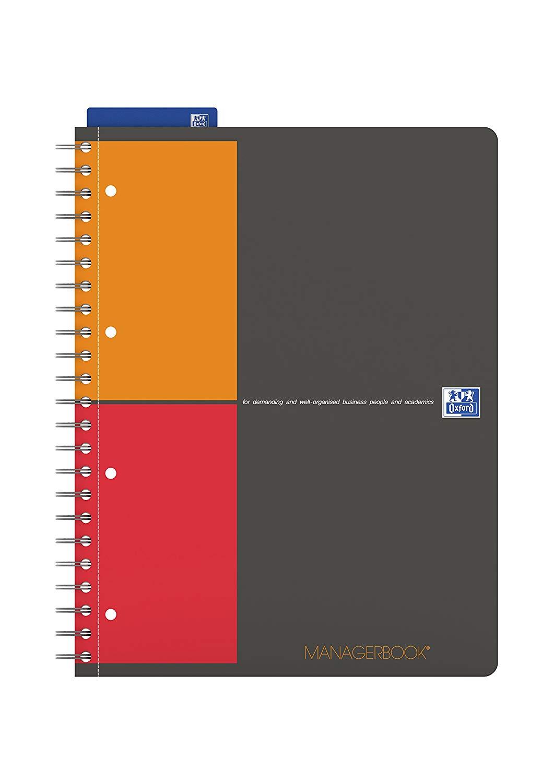 Caiet cu spirala A4+, OXFORD International Managerbook, 80 file-90g/mp, 4 perf., coperta PP - dictan