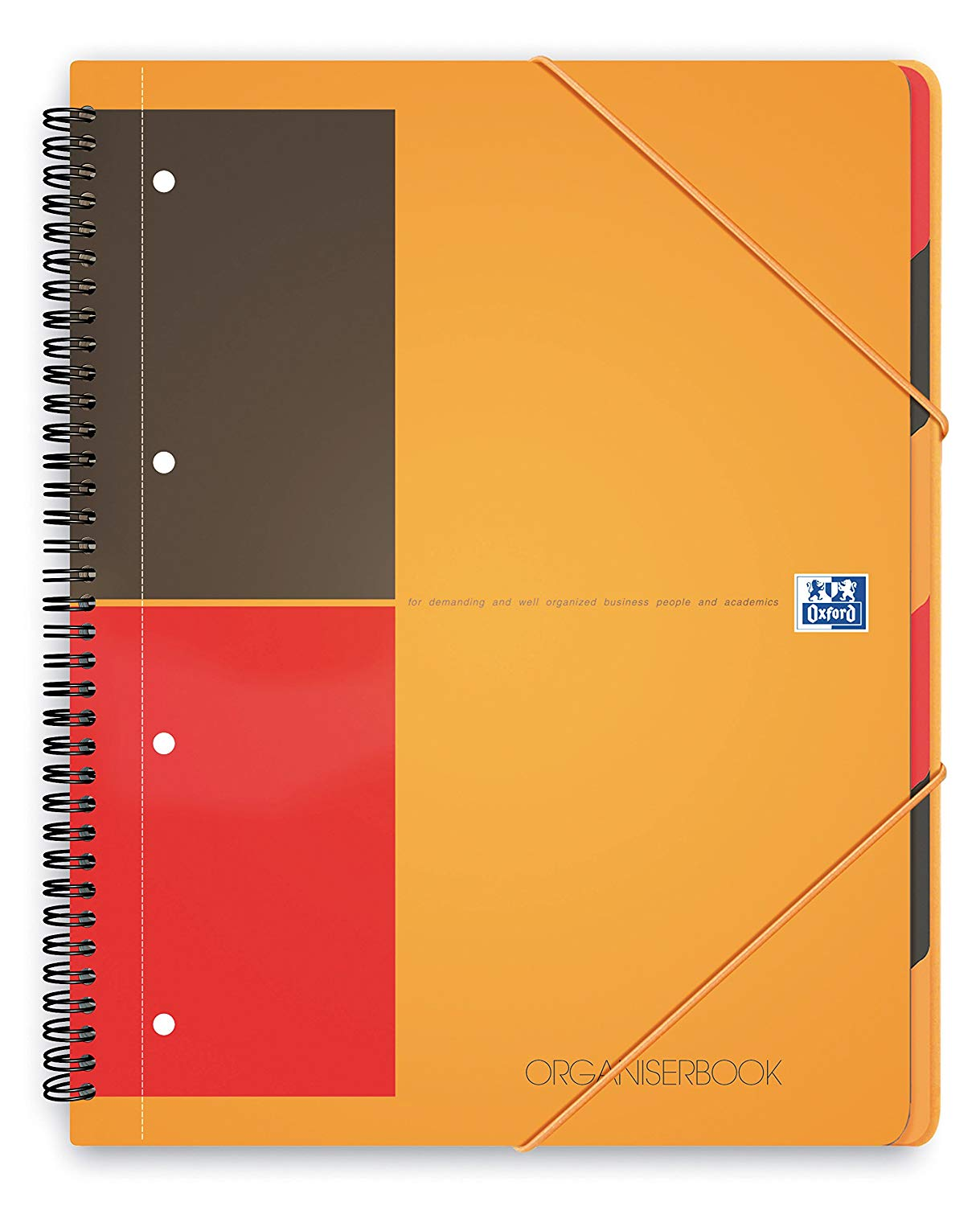 Caiet cu spirala A4+, OXFORD International Organiserbook, 80 file-80g/mp, 4 perf., coperta PP - dict