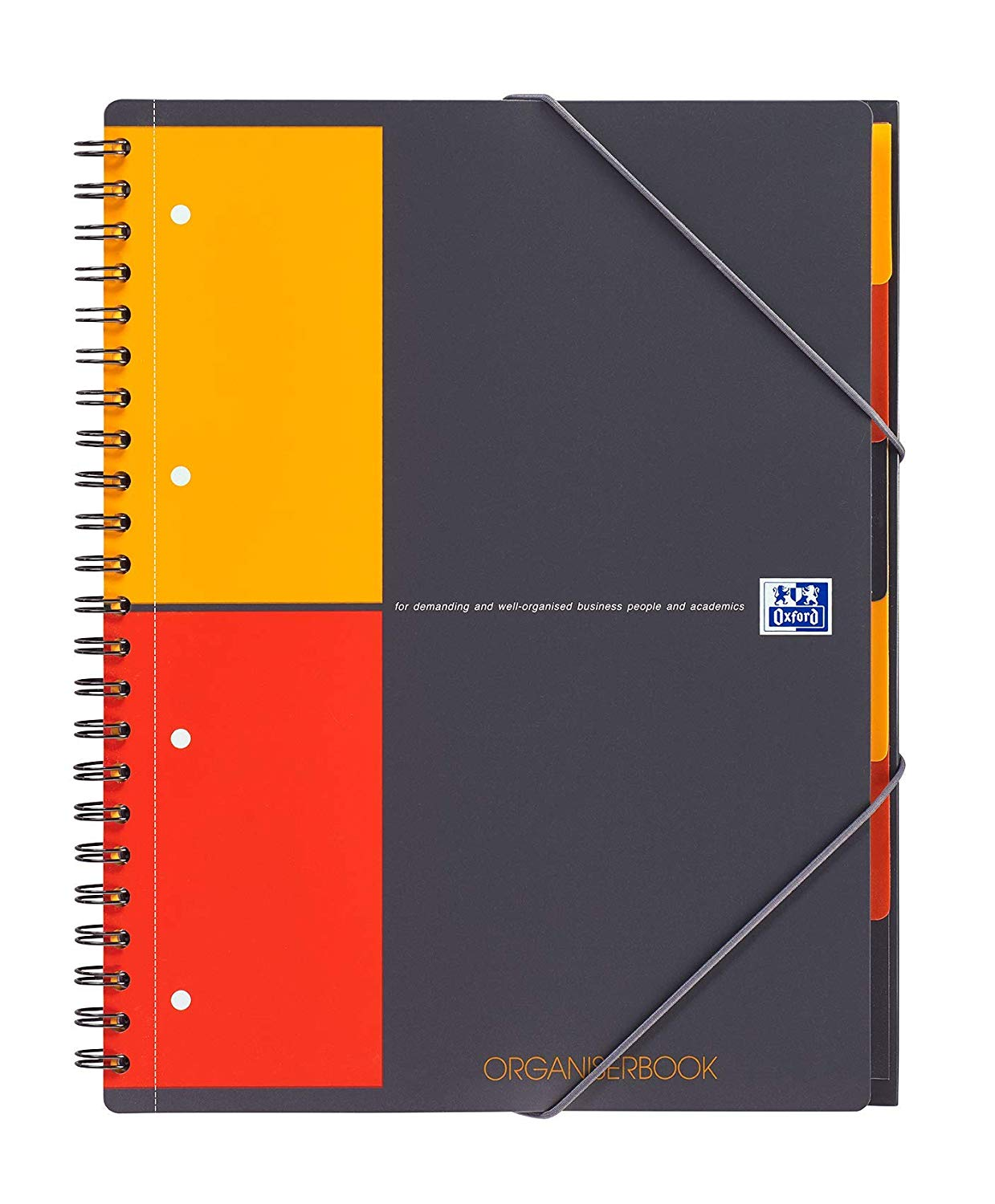 Caiet cu spirala A4+, OXFORD International Organiserbook, 80 file-80g/mp, 4 perf., coperta PP - mate