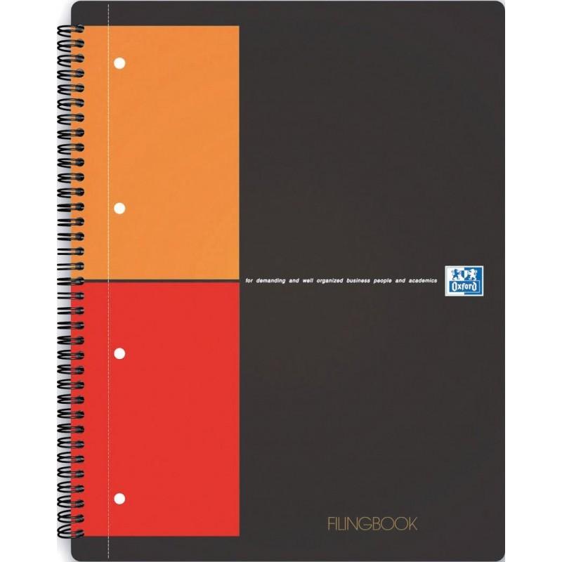 Caiet cu spirala A4+, OXFORD International Filingbook, 100 file-80g/mp, coperta carton rigid - mate