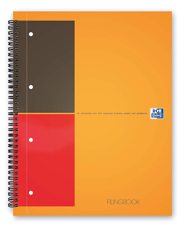 Caiet cu spirala A4+, OXFORD International Filingbook, 100 file-80g/mp, coperta carton rigid - dicta