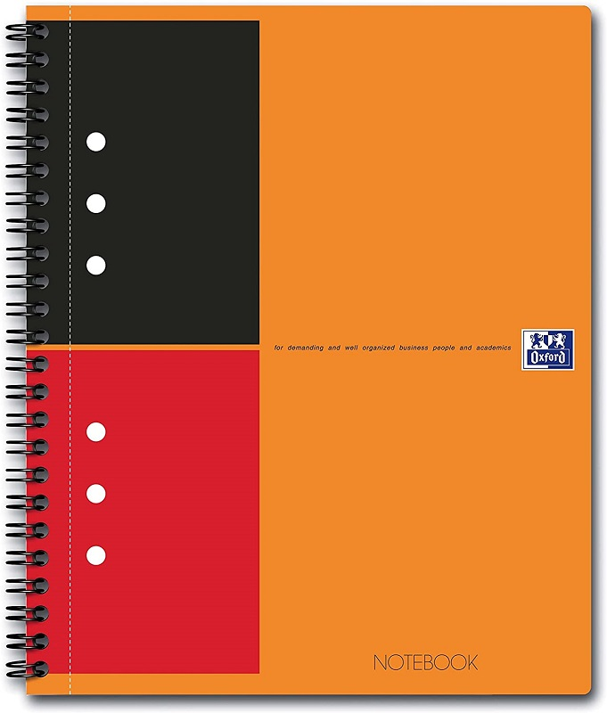 Caiet cu spirala A5+, OXFORD Int. Notebook, 80 file-80g/mp, 10 perf., coperta carton rigid - dictand