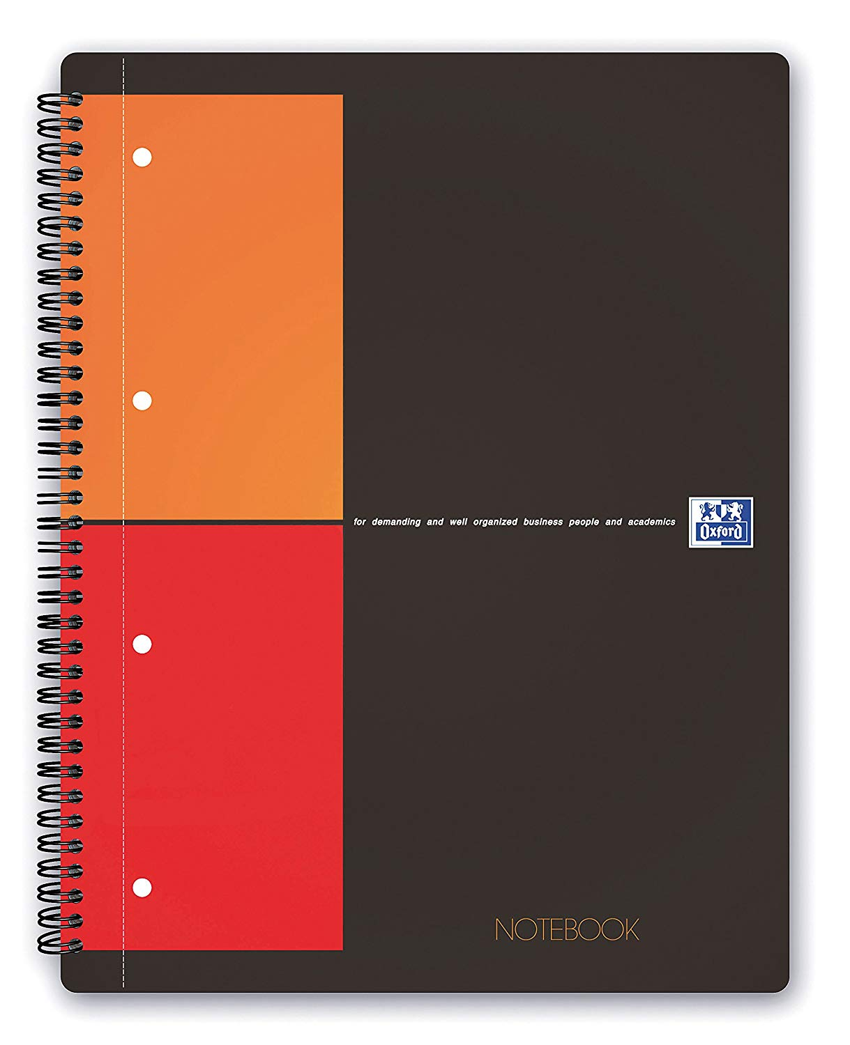 Caiet cu spirala A4+, OXFORD Int. Notebook, 80 file-80g/mp, 4 perf., coperta carton rigid - mate