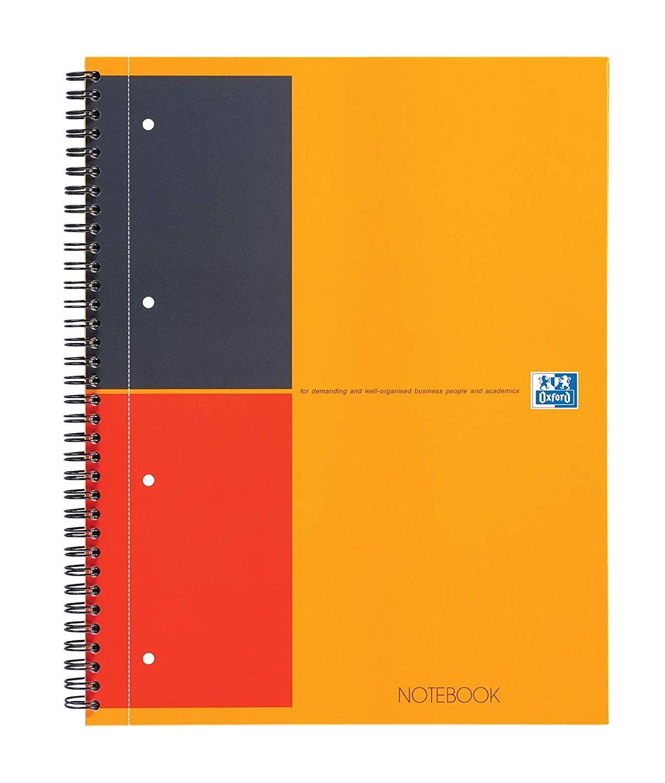 Caiet cu spirala A4+, OXFORD Int. Notebook, 80 file-80g/mp, 4 perf., coperta carton rigid - dictando