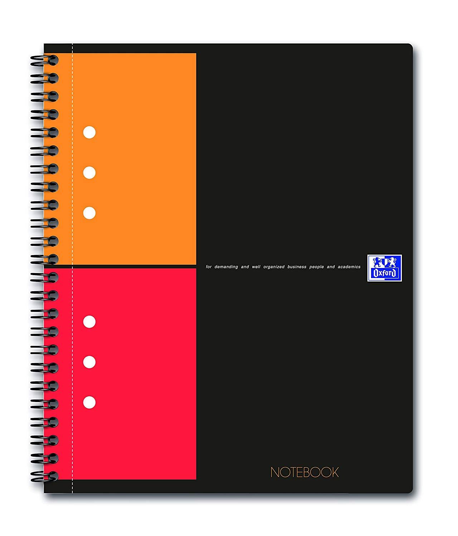 Caiet cu spirala A5+, OXFORD Int. Notebook, 80 file-80g/mp, 10 perf., coperta carton rigid - mate