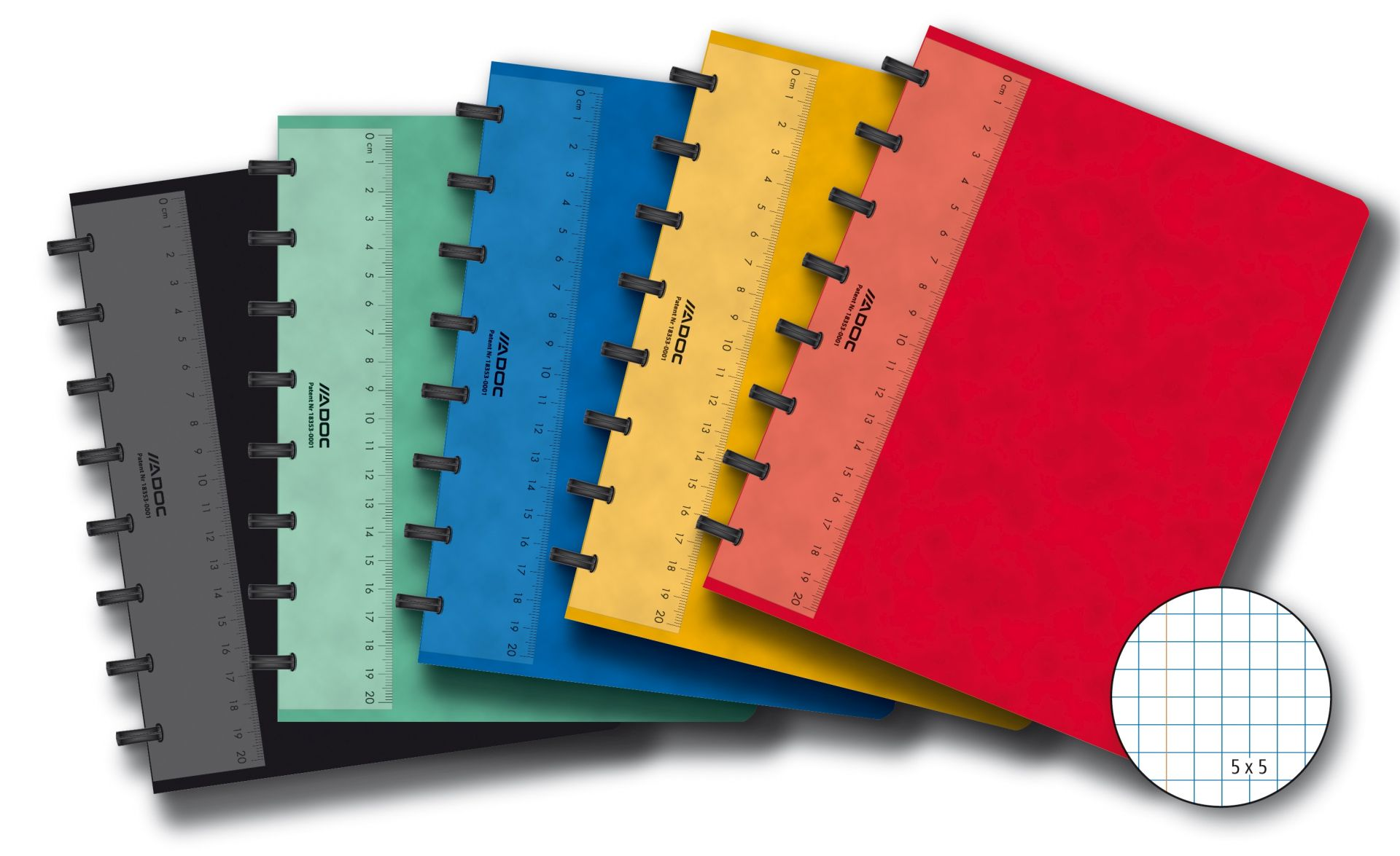 Caiet A5, 72 file - 90g/mp, coperta carton color embosat, AURORA Adoc - matematica