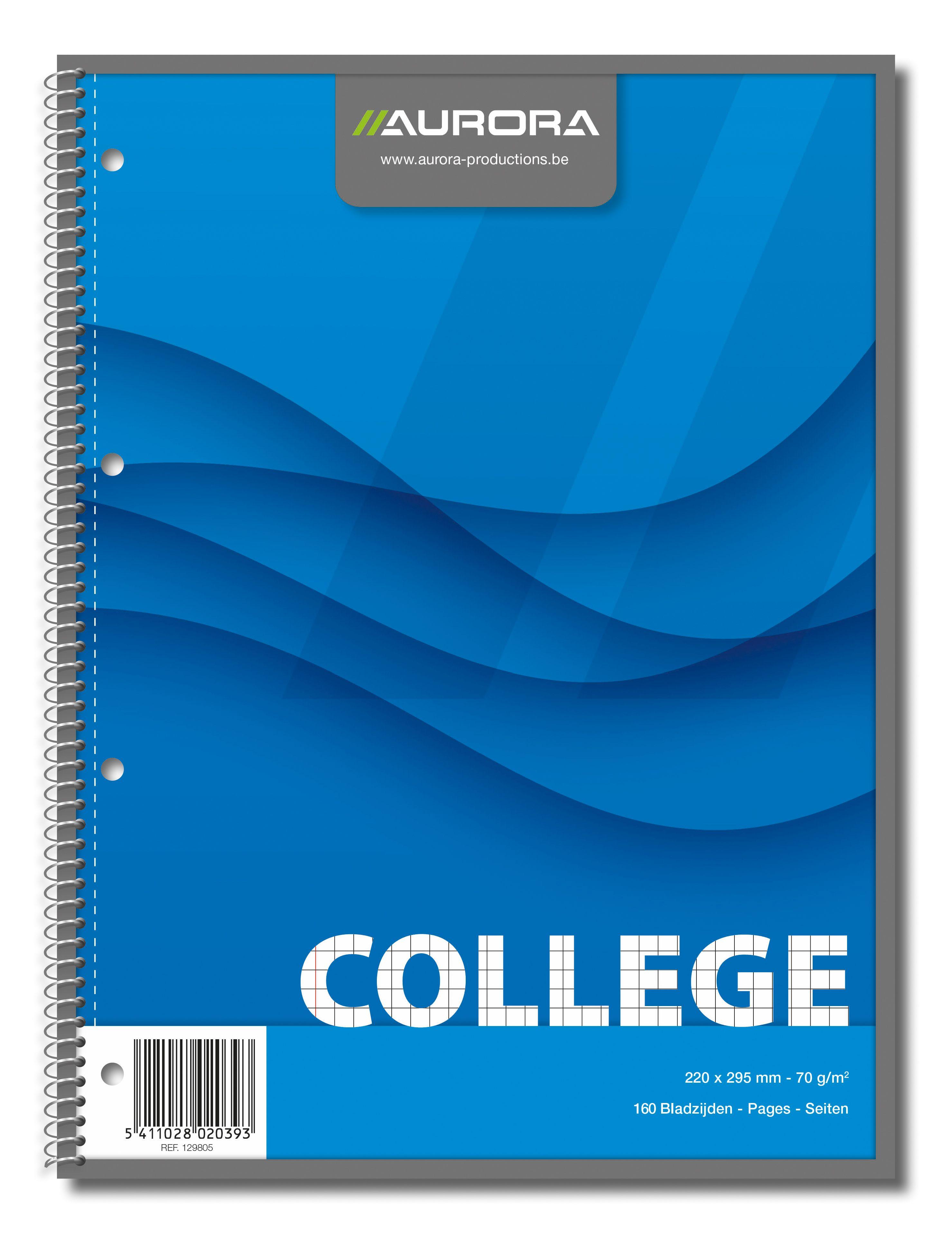 Caiet cu spirala, A4, 80 file - 70g/mp, 4 perforatii, coperti carton, AURORA College - matematica