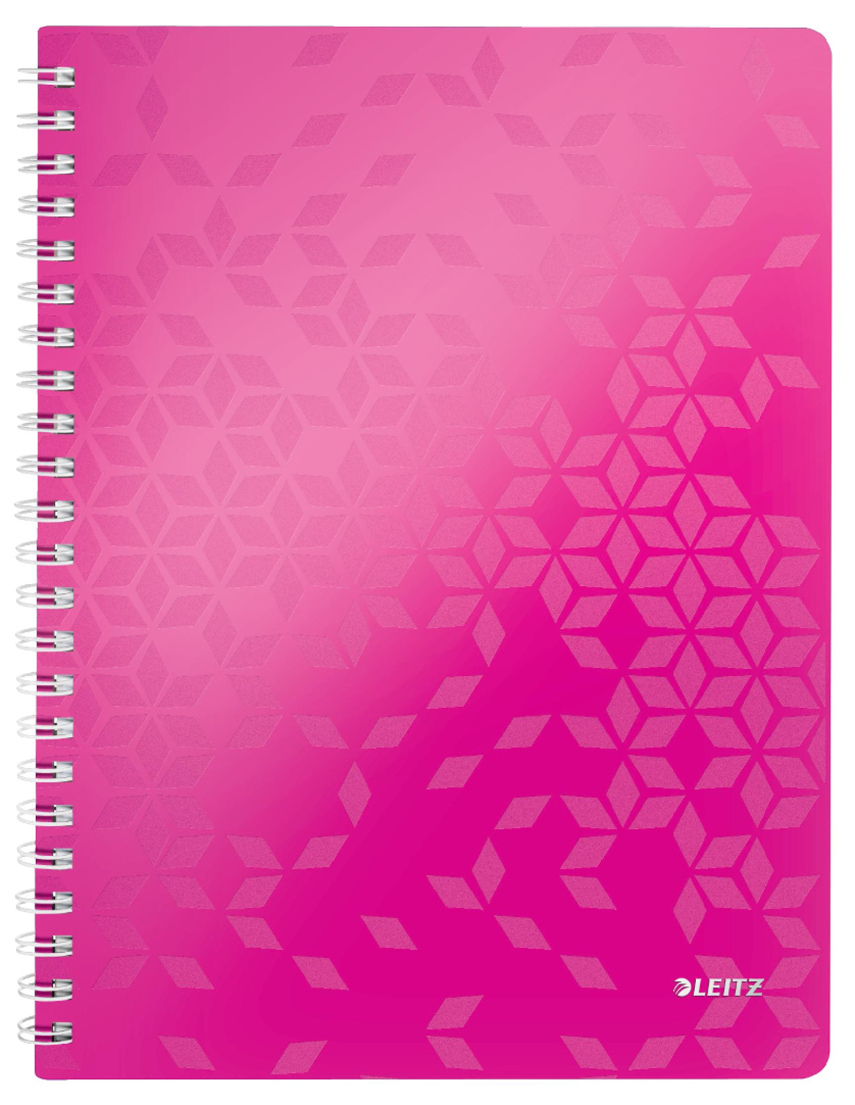 Caiet de birou LEITZ Wow, PP, A4, cu spira, dictando - roz metalizat