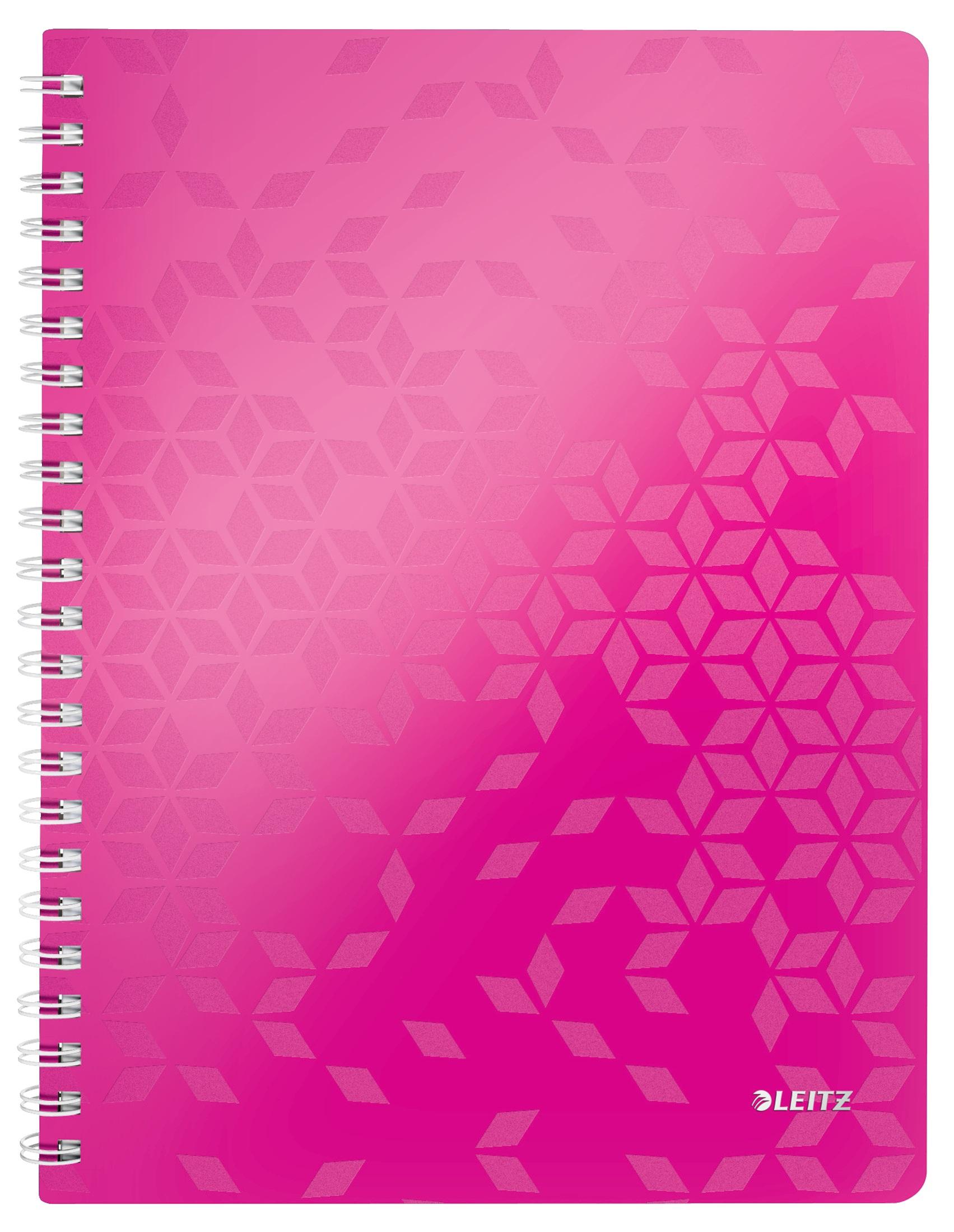 Caiet de birou LEITZ Wow, PP, A4, cu spira, matamatica - roz metalizat