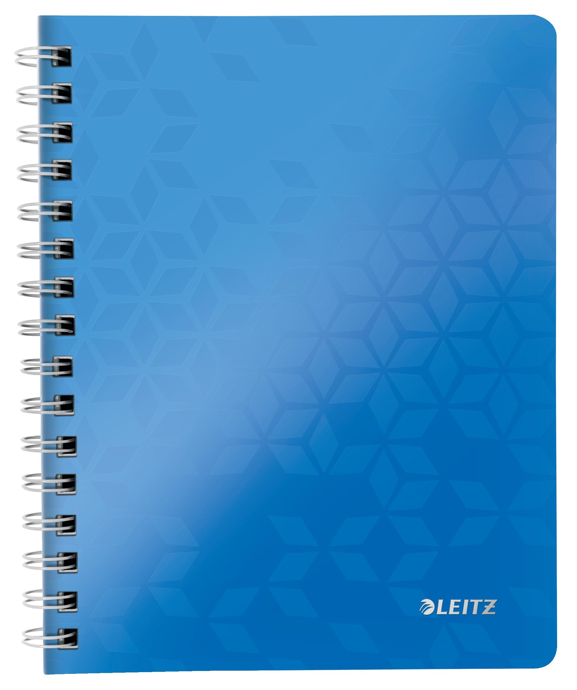 Caiet de birou LEITZ Wow, PP, A5, cu spira, matematica -albastru metalizat