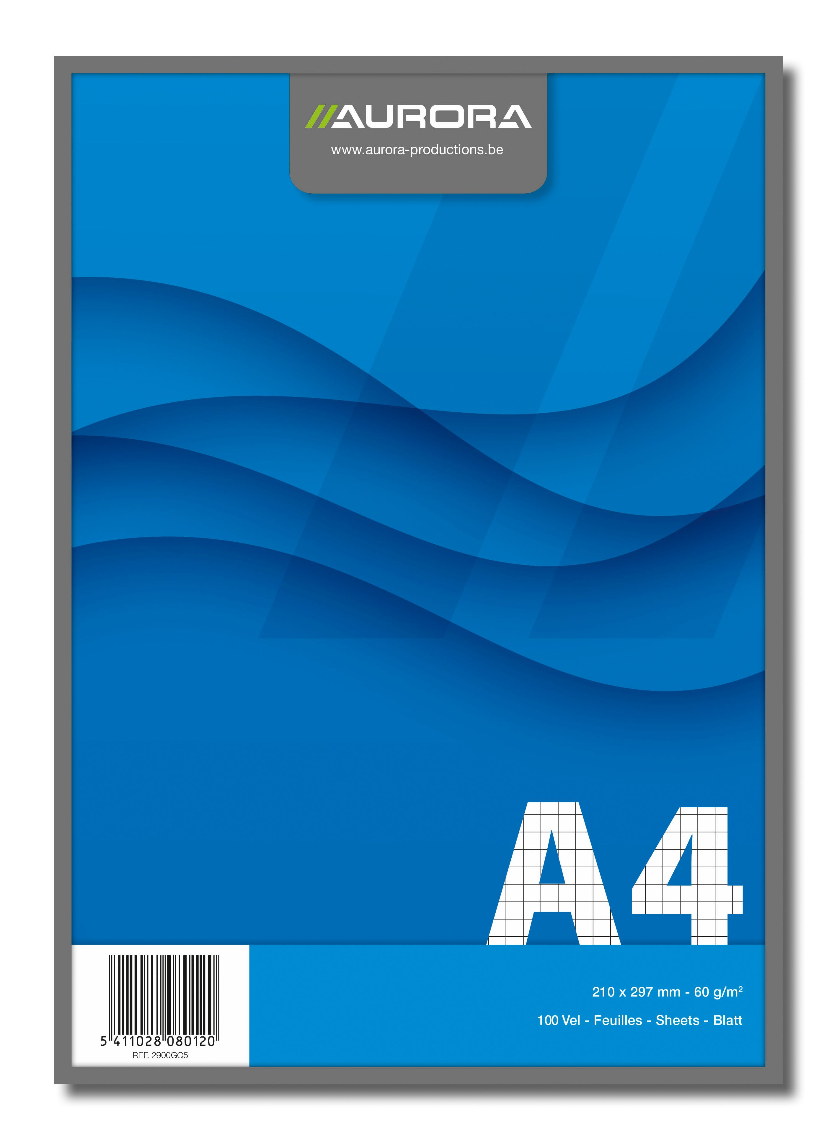 Blocnotes capsat, A4, 100 file - 60g/mp, microperforatii, AURORA Office - matematica