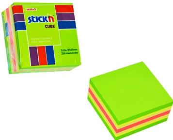 Cub notes autoadeziv 51 x 51 mm, 250 file, Stickn - neon/pastel asortate