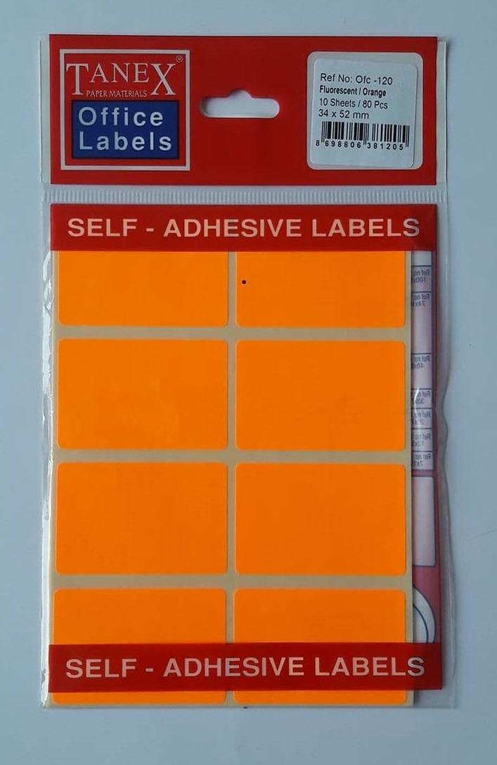 Etichete autoadezive color, 34 x 52 mm, 80 buc/set, Tanex - orange fluorescent