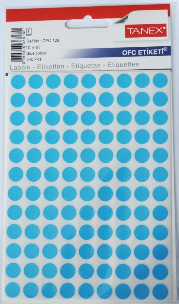 Etichete autoadezive color, D10 mm, 1080 buc/set, Tanex - albastru