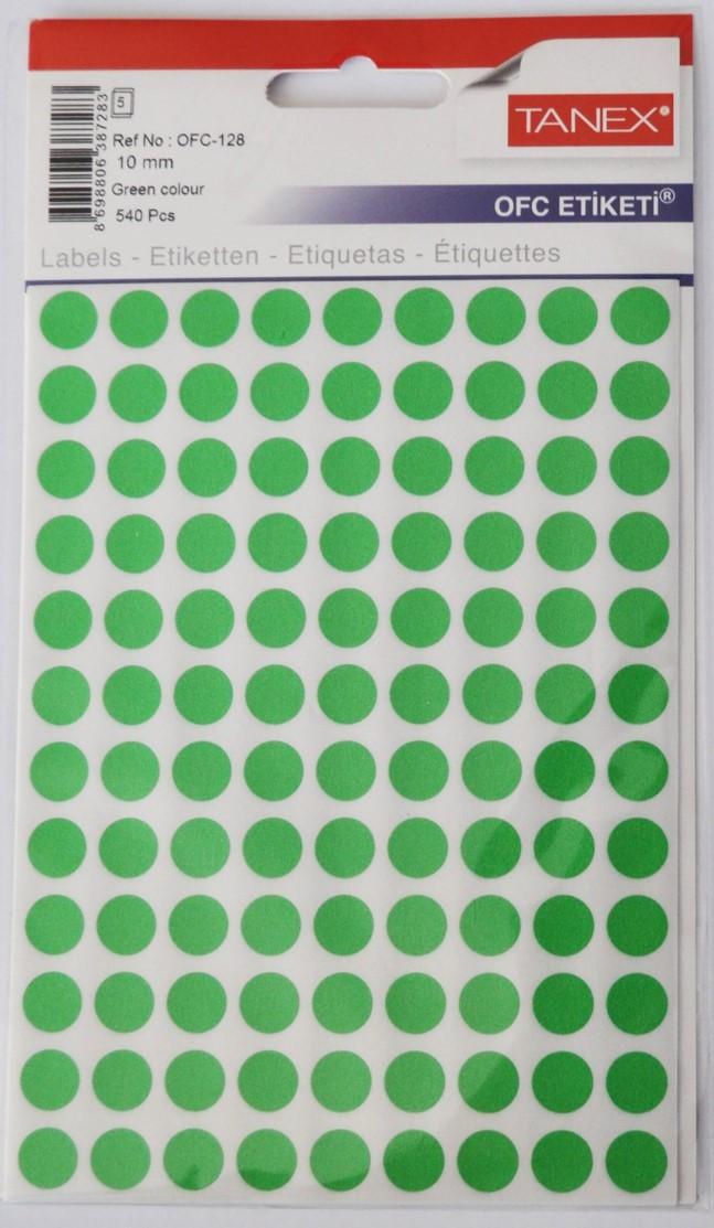 Etichete autoadezive color, D10 mm, 1080 buc/set, Tanex - verde