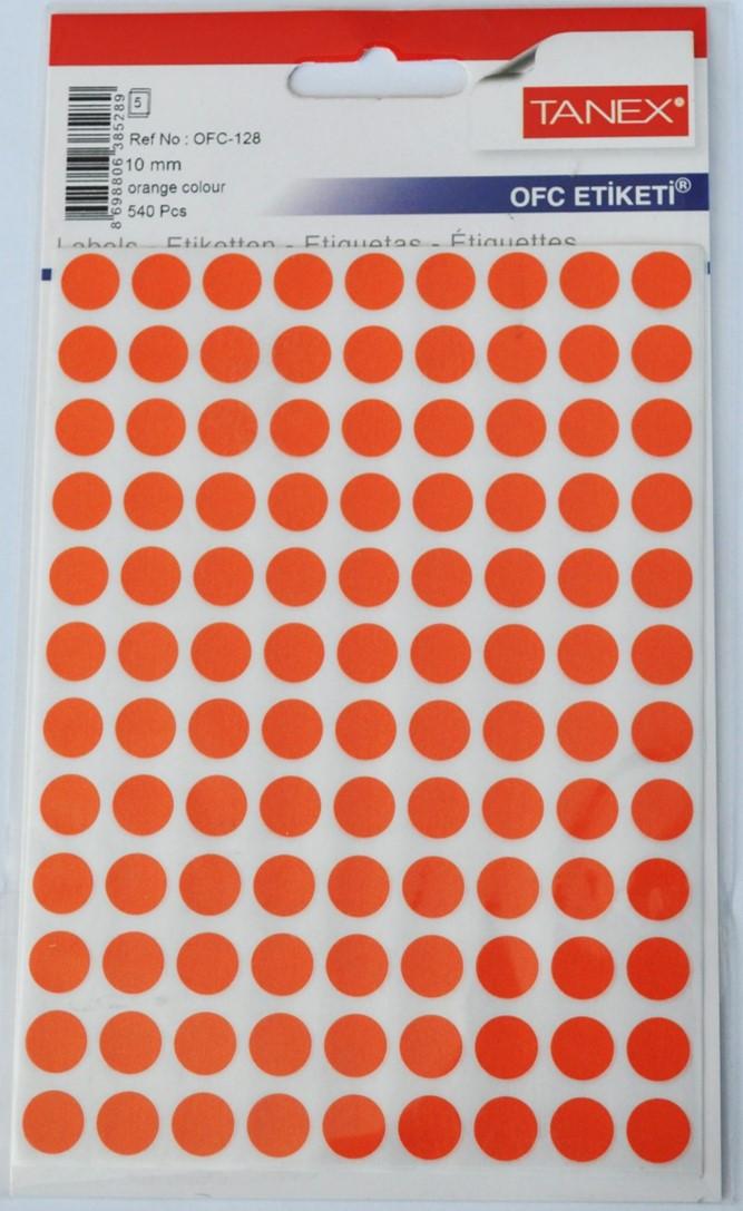 Etichete autoadezive color, D10 mm, 1080 buc/set, Tanex - orange