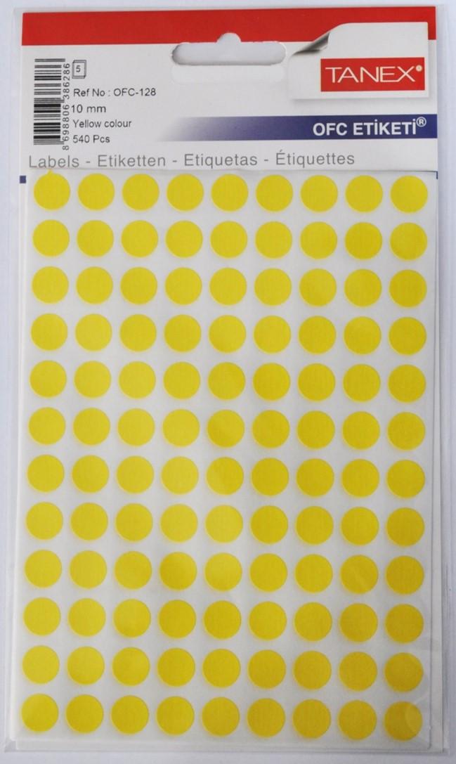 Etichete autoadezive color, D10 mm, 1080 buc/set, Tanex - galben