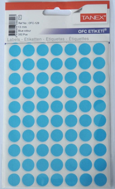 Etichete autoadezive color, D13 mm, 700 buc/set, Tanex - albastru