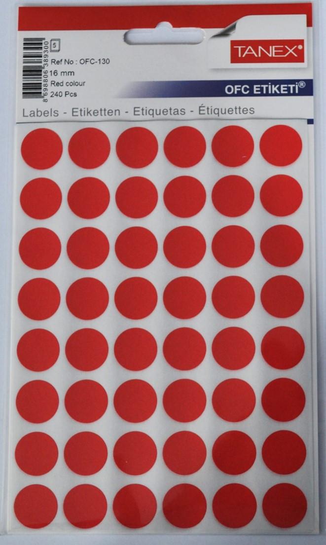 Etichete autoadezive color, D16 mm, 480 buc/set, Tanex - rosu