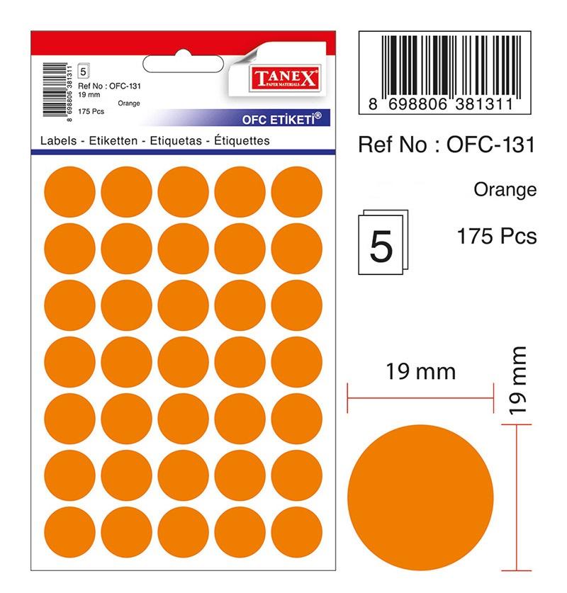 Etichete autoadezive color, D19 mm, 350 buc/set, Tanex -orange