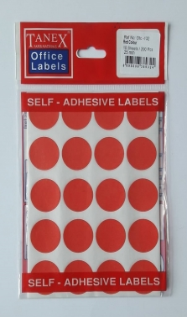 Etichete autoadezive color, D25 mm, 200 buc/set, Tanex - rosu