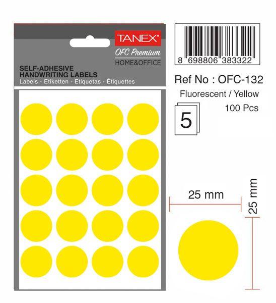 Etichete autoadezive color, D25 mm, 200 buc/set, Tanex - galben