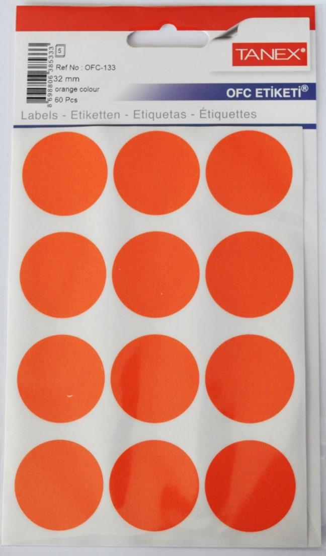 Etichete autoadezive color, D32 mm, 120 buc/set, Tanex - orange fluorescent