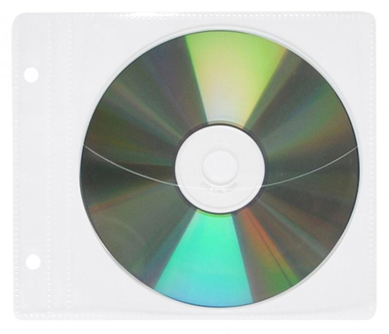 Plic plastic PP pentru CD/DVD, cu perforatii, 10 buc/set, Office Products - transparent