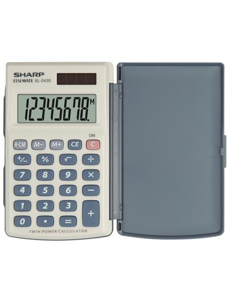 Calculator de buzunar, 8 digits, 105 x 64 x 11 mm, capac din plastic, SHARP EL-243S - gri