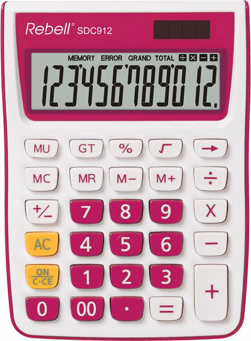 Calculator de birou, 12 digits, 145 x 104 x 26 mm, Rebell SDC 912 - alb/roz