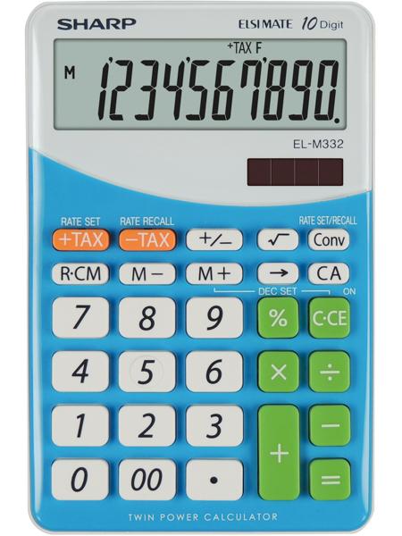 Calculator de birou, 10 digits, 149 x  100 x 27 mm, SHARP EL-M332BBL - gri/bleu
