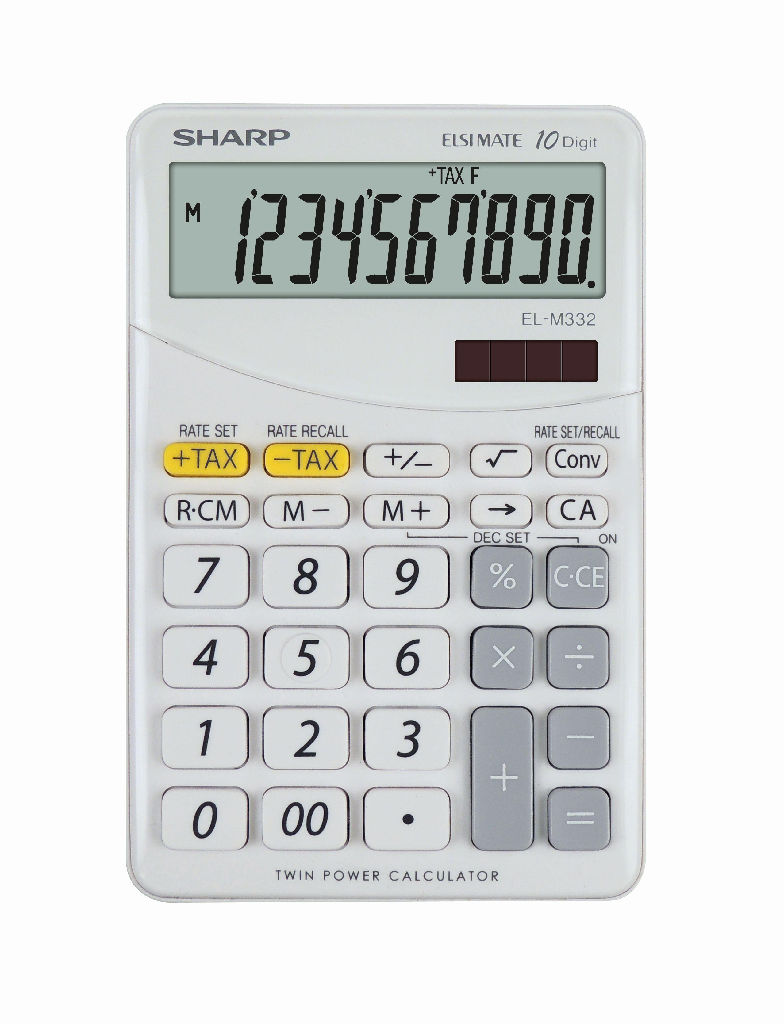 Calculator de birou, 10 digits, 149 x 100 x 27 mm, SHARP EL-M332BBL - gri/alb