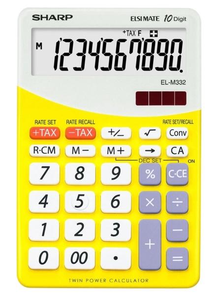 Calculator de birou, 10 digits, 149 x  100 x 27 mm, SHARP EL-M332BBL - gri/galben