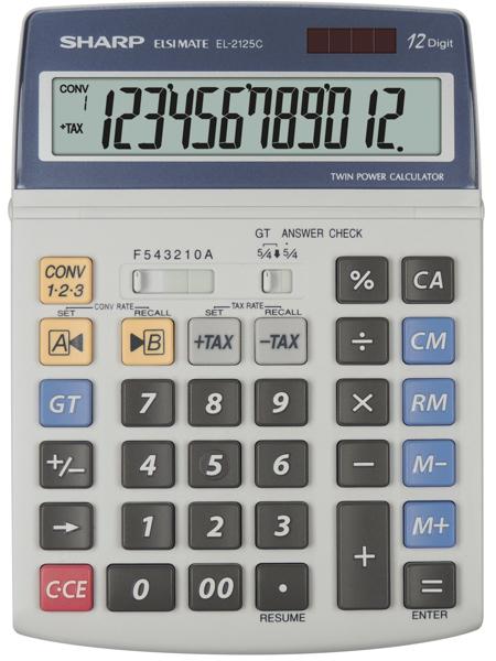Calculator de birou, 12 digits, 195 x 140 x 23 mm, SHARP EL-2125C - gri