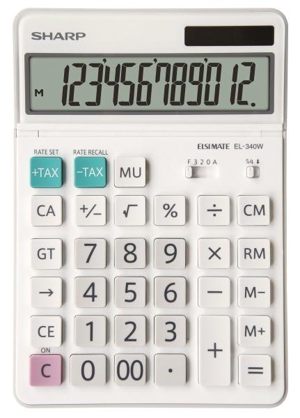 Calculator de birou, 12 digits, 189 x 127 x 18 mm, SHARP EL-340W - alb