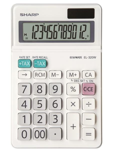 Calculator de birou, 12 digits, 153 x  97 x 18 mm, SHARP EL-320W - alb