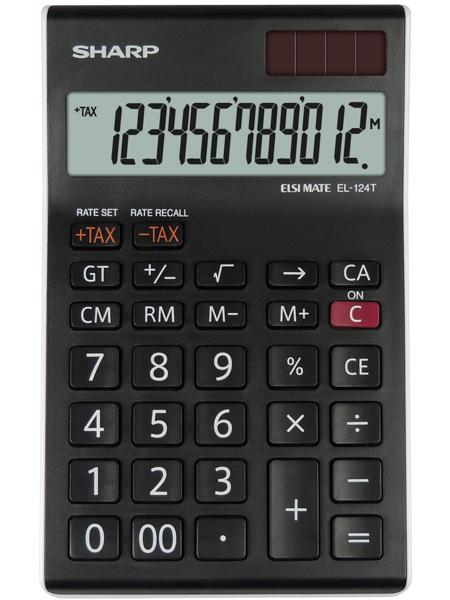 Calculator de birou, 12 digits, 152 x  96 x 12 mm, SHARP EL-124TWH - negru/alb