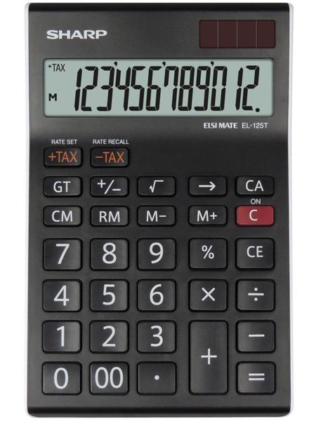 Calculator de birou, 12 digits, 176 x 112 x 13 mm, SHARP EL-125TWH - negru/alb