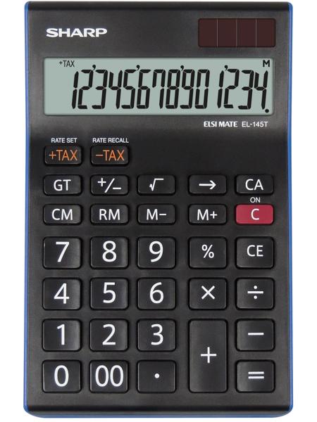 Calculator de birou, 14 digits, 176 x 112 x 13 mm, SHARP EL-145TBL - negru