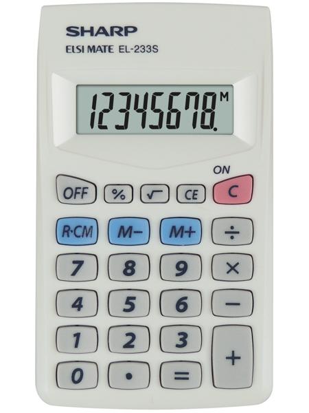 Calculator de buzunar, 8 digits, 103 x 60 x  8 mm, SHARP EL-233S - alb