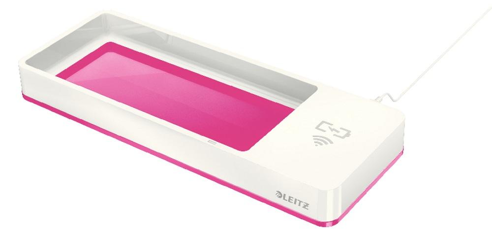 Suport organizator birou LEITZ Wow cu incarcator prin inductie - roz metalizat/alb