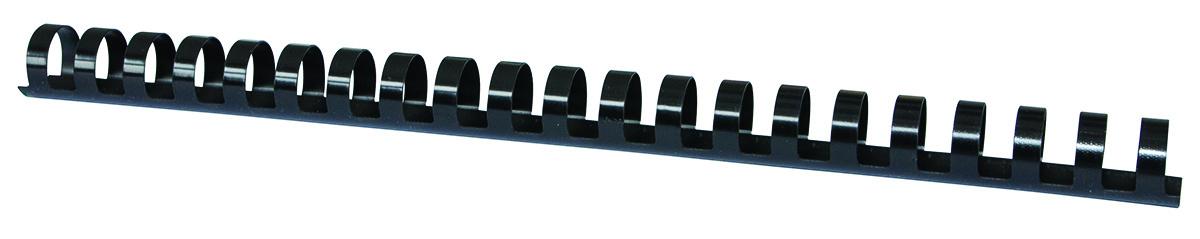 Inele plastic 19 mm, max 175 coli, 100buc/cut Office Products - negru