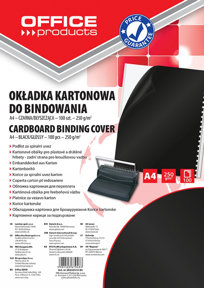 Coperta carton lucios 250g/mp, A4, 100/top, Office Products - negru
