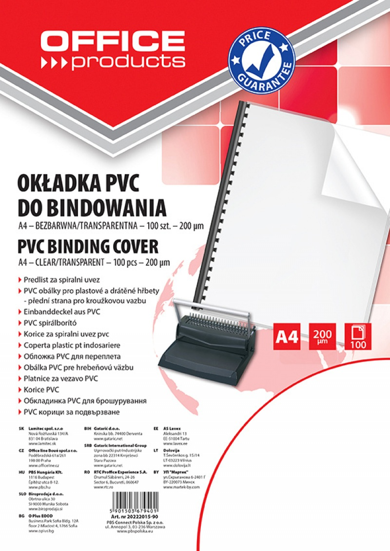 Coperta plastic PVC, 200 microni, A4, 100/top Office Products - transparent cristal