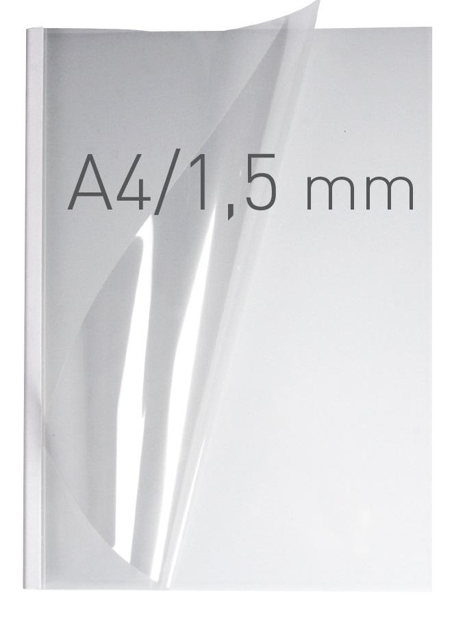 Coperti plastic PVC cu sina metalica  1.5mm, OPUS Easy Open - transparent cristal/alb