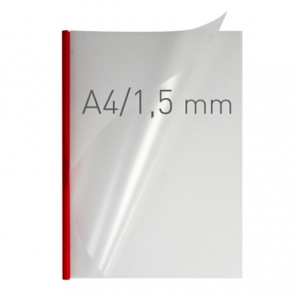 Coperti plastic PVC cu sina metalica  1.5mm, OPUS Easy Open - transparent cristal/rosu