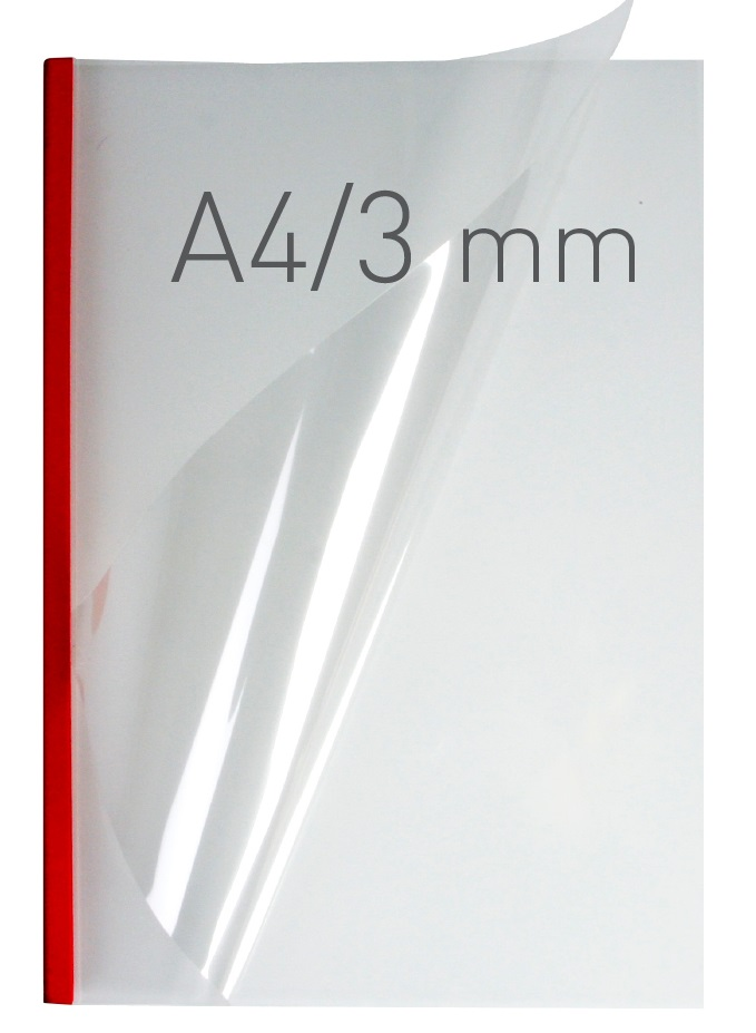 Coperti plastic PVC cu sina metalica  3mm, OPUS Easy Open - transparent cristal/rosu