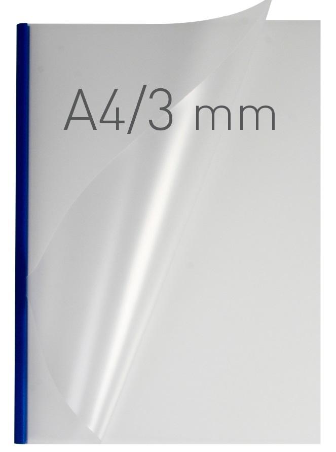 Coperti plastic PVC cu sina metalica  3mm, OPUS Easy Open - transparent mat/albastru