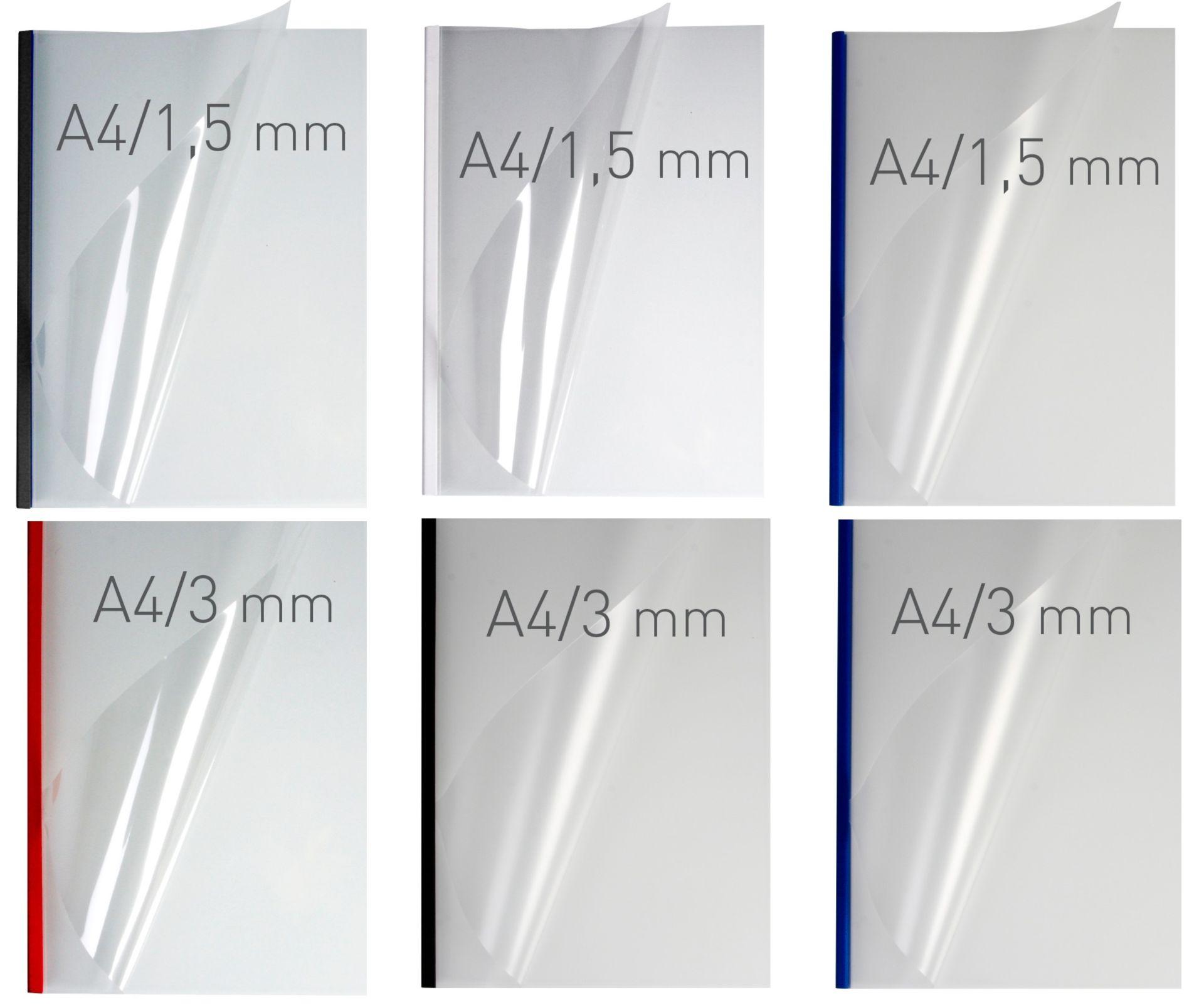 Coperti plastic PVC cu sina metalica  5mm, OPUS Easy Open - transparent mat/albastru